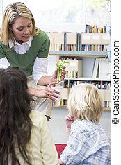 professor, classe, mostrando, estudantes, bambu, planta, (selective, focus)