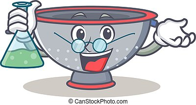 Professor colander utensil character cartoon vector...