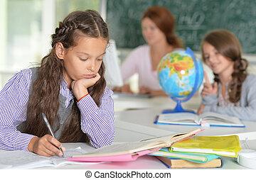professor, com, duas meninas, em, lição