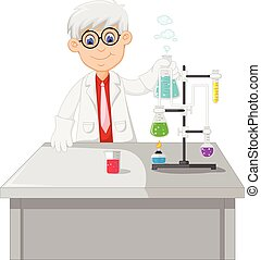 professor conduct chemical practice - vector illustration of...
