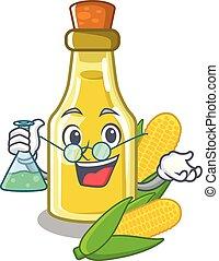 Professor corn oil put into cartoon bottle