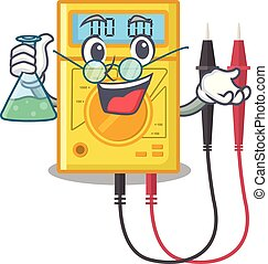 Professor digital multimeter isolated with the character...