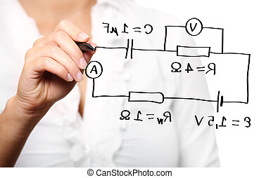 professor, durante, um, conferência, em, física