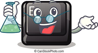 Professor E button attached to cartoon keyboard vector...