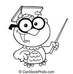 professor, esboçado, coruja