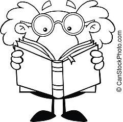 professor, esboçado, livro, leitura