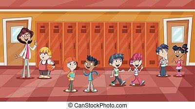 professor escola, corredor, crianças
