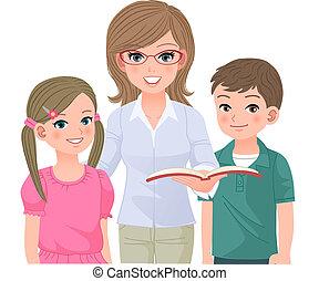 professor escola, feliz, pupilas