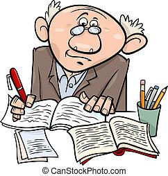 professor, escritor, ou, ilustração, caricatura