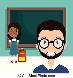 professor, estudante, chalkboard