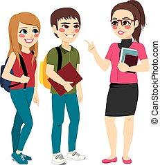 professor, falando, com, estudantes, ficar