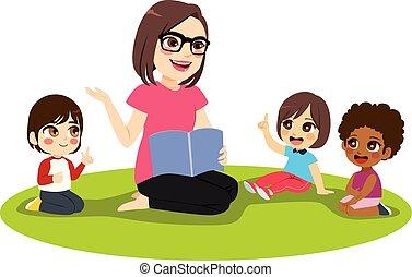 professor feminino, crianças