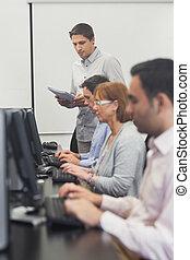 professor, ficar, frente, comput
