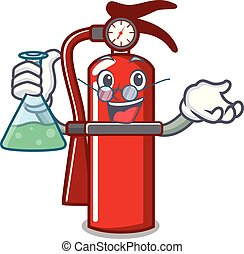 Professor fire extinguisher character cartoon
