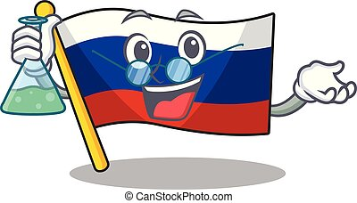 Professor flag russian stored in cartoon cupboard