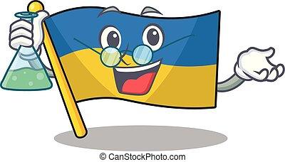 Professor flag ukraine flown above cartoon pole