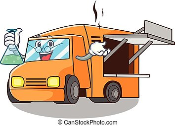 Professor Food Truck with Isolated on mascot