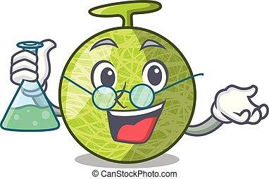 Professor fresh organic melon in the cartoon