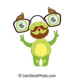 Professor Funny Monster With Beard And Glasses, Green Alien Emoji Cartoon Character Sticker