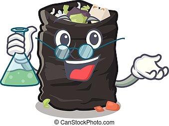 Professor garbage bag in the cartoon shape vector illustration