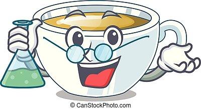 Professor ginger tea above character wooden table vector...