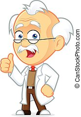 Clipart Picture of a Professor Cartoon Character Giving Thumbs Up