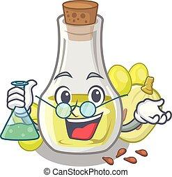 Professor grape seed oil in cartoon bottle