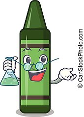 Professor green crayon isolated in the cartoon vector...