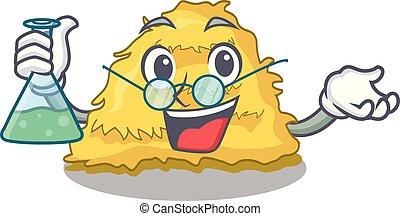 Professor hay bale character cartoon vector illustration