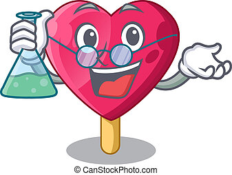 Professor heart character ice cream on candy vector...