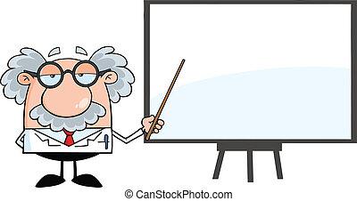 professor, het voorstellen, op, een, plank