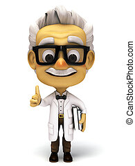 Professor holding a book - 3d render cartoon professor...