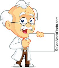Professor Holding a sign - Clipart Picture of a Professor...