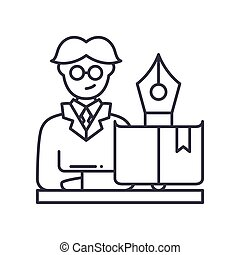 Professor icon, linear isolated illustration, thin line vector, web design sign, outline concept symbol with editable stroke on white background.