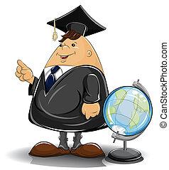professor in cloak with globe