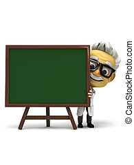professor in front of green board - 3d render cartoon...