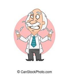 Professor in fury tear on head hair