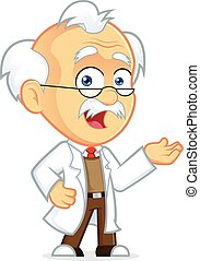 Clipart Picture of a Professor Cartoon Character in Welcoming Gesture