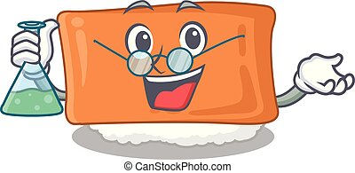 Professor inari sushi in the cartoon shape vector...
