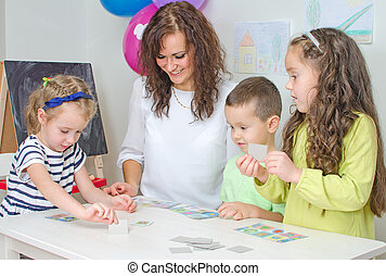 professor, jogos, crianças, kindergarten.
