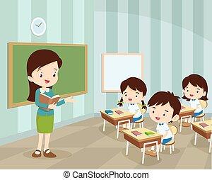 professor, jovem, estudantes, sala aula