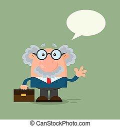 professor, karakter, of, zwaaiende , wetenschapper, tekstballonetje, spotprent