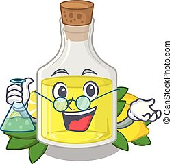 Professor lemon cartoon oil bottle above table vector...