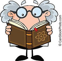 professor, lendo um livro