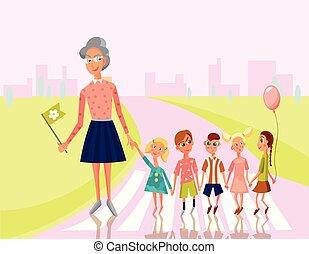 professor, liderar, crianças, crucifixos, a, rua, para, escola, jardim infância, preschoo?., educação, concept.vector, personagem, illustration.