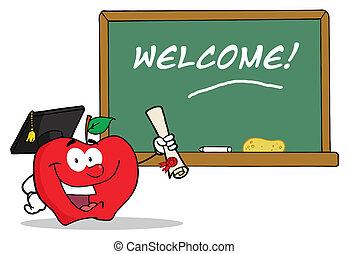 professor, maçã, diploma