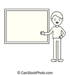 professor, macho, chalkboard, jovem