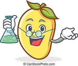 Professor mango character cartoon mascot vector illustration