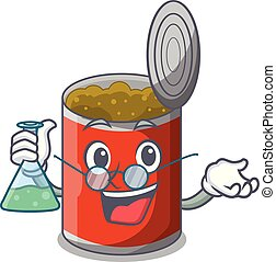 Professor metal food cans on a cartoon vector illustration