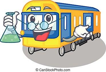 professor, metro trein, speelgoed, in vorm, mascotte